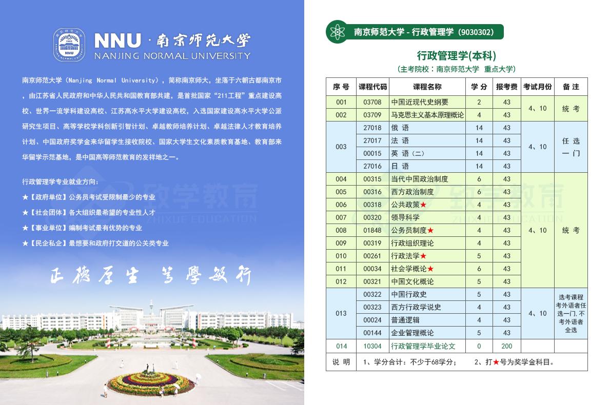 南京师范大学行政管理学本科