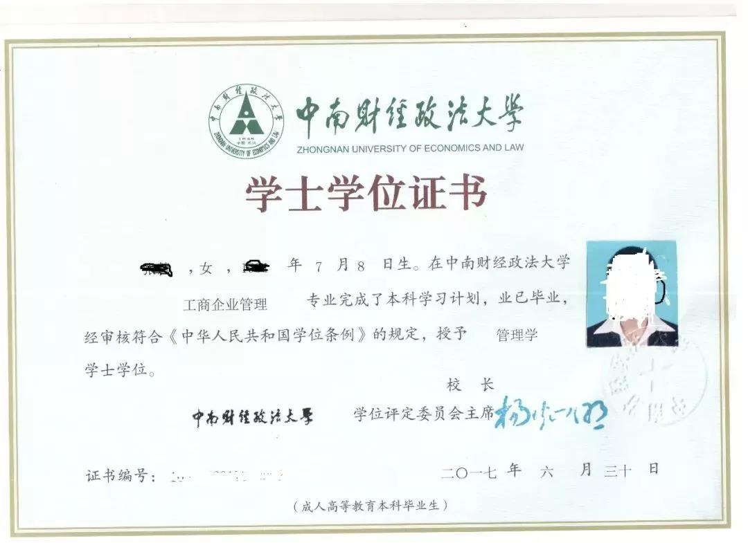 中南财经政法大学学位证